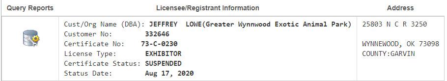 Jeff Lowe USDA Licen